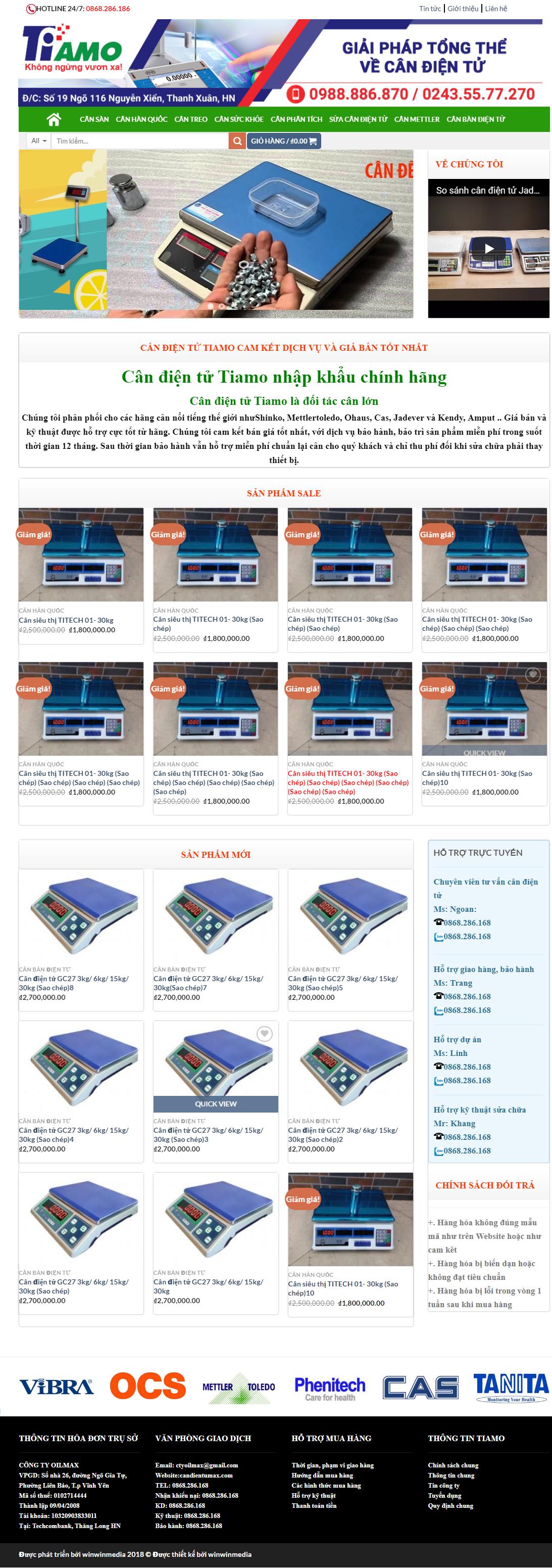 Mẫu website bán hàng cân điện tử