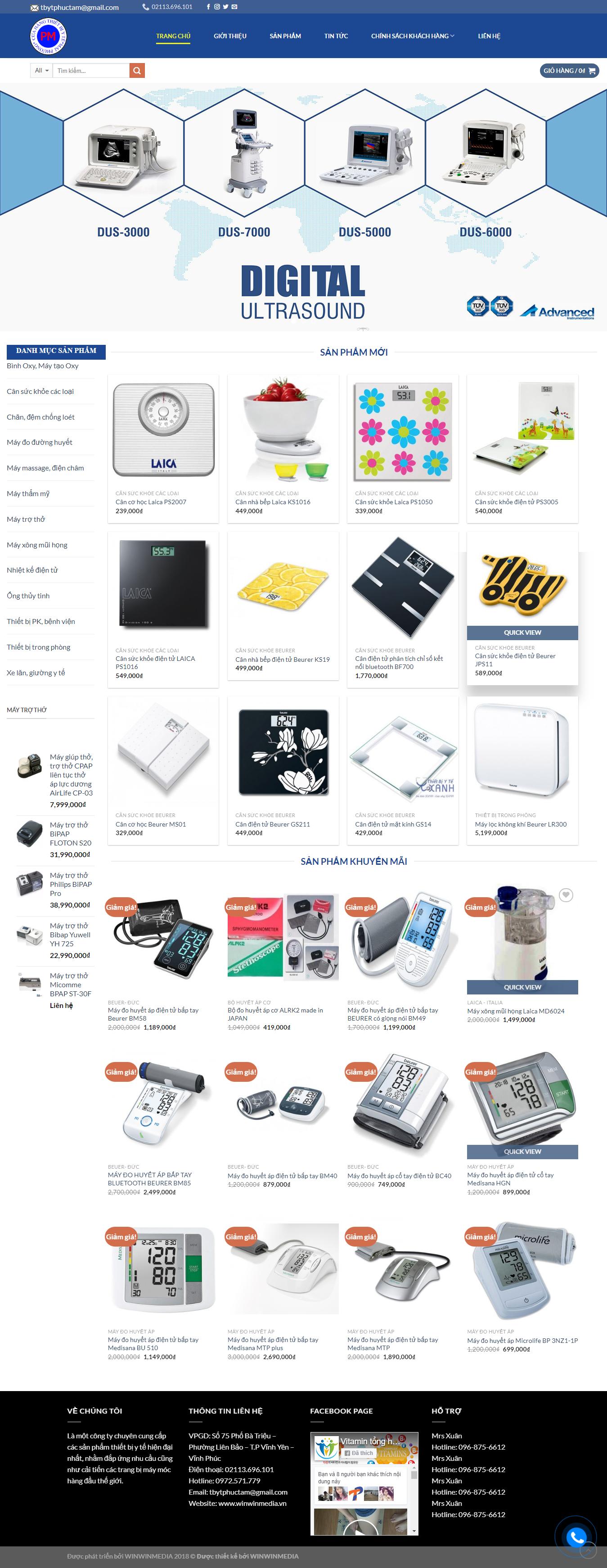 Mẫu website bán thiết bị y tế