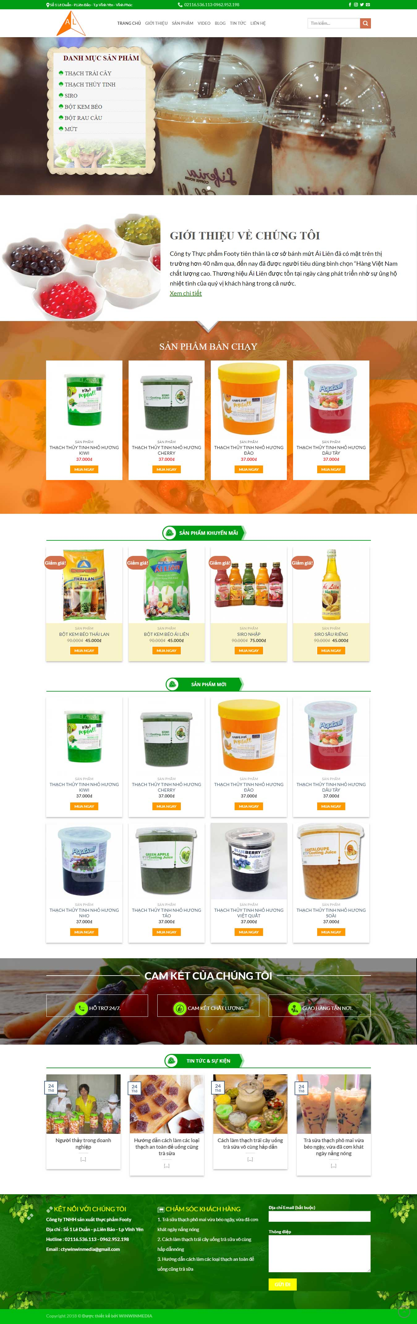 Mẫu website bán trà sữa