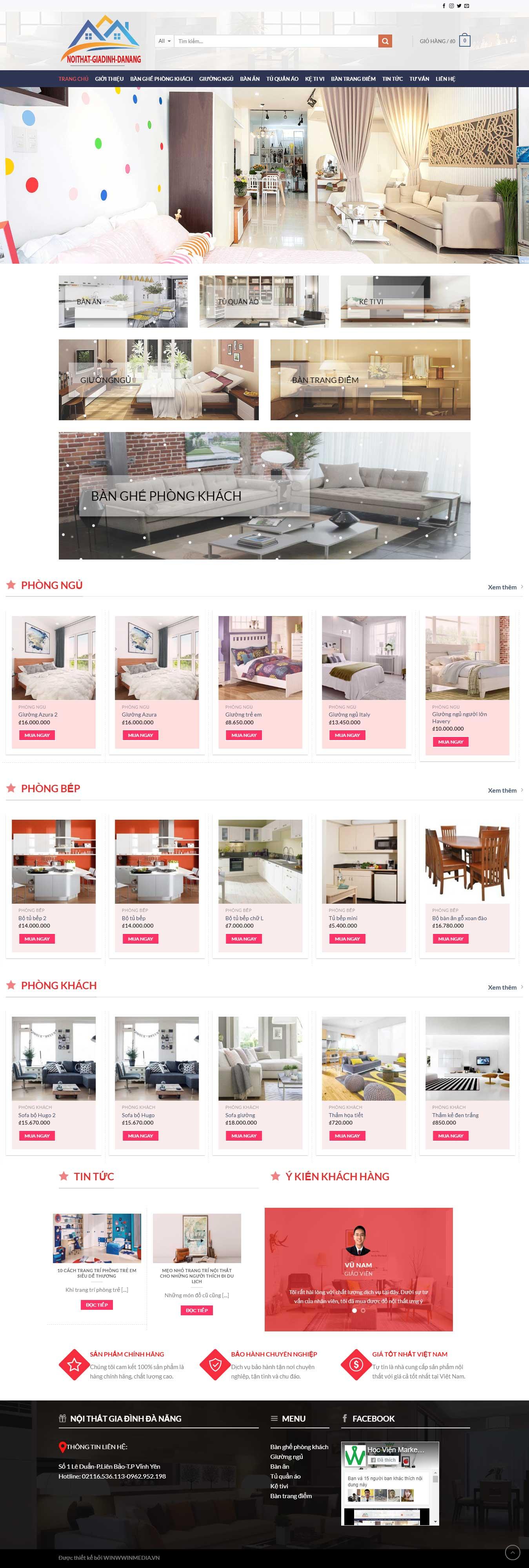 Mẫu thiết kế website nội thất gia đình Đà Nẵng