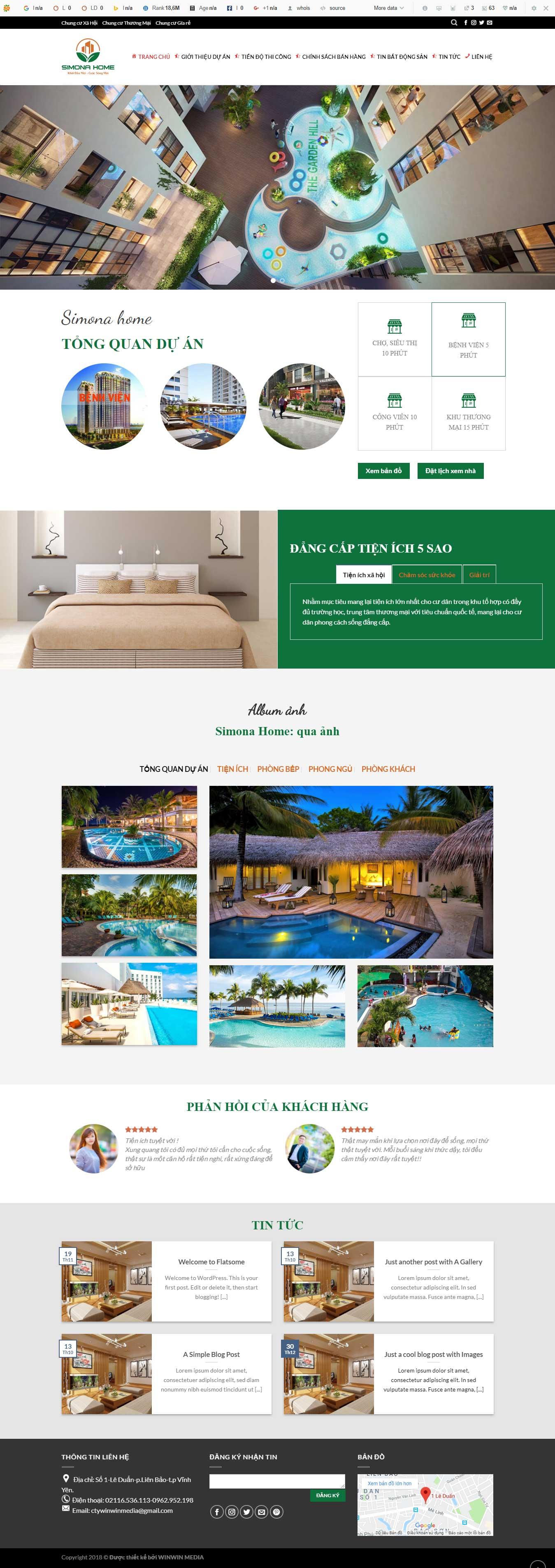 Mẫu website giới thiệu về bất động sản tại Vĩnh Phúc