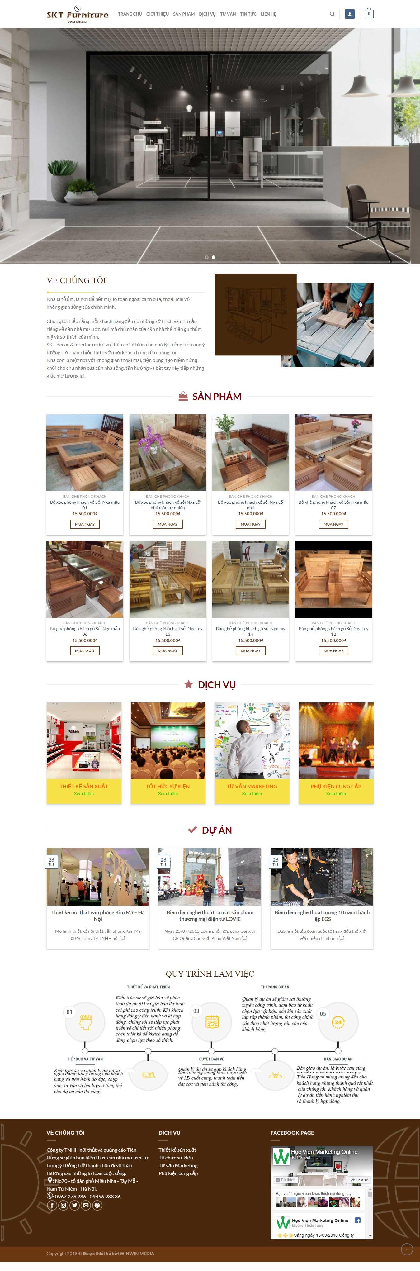 Mẫu website cửa hàng Nội Thất