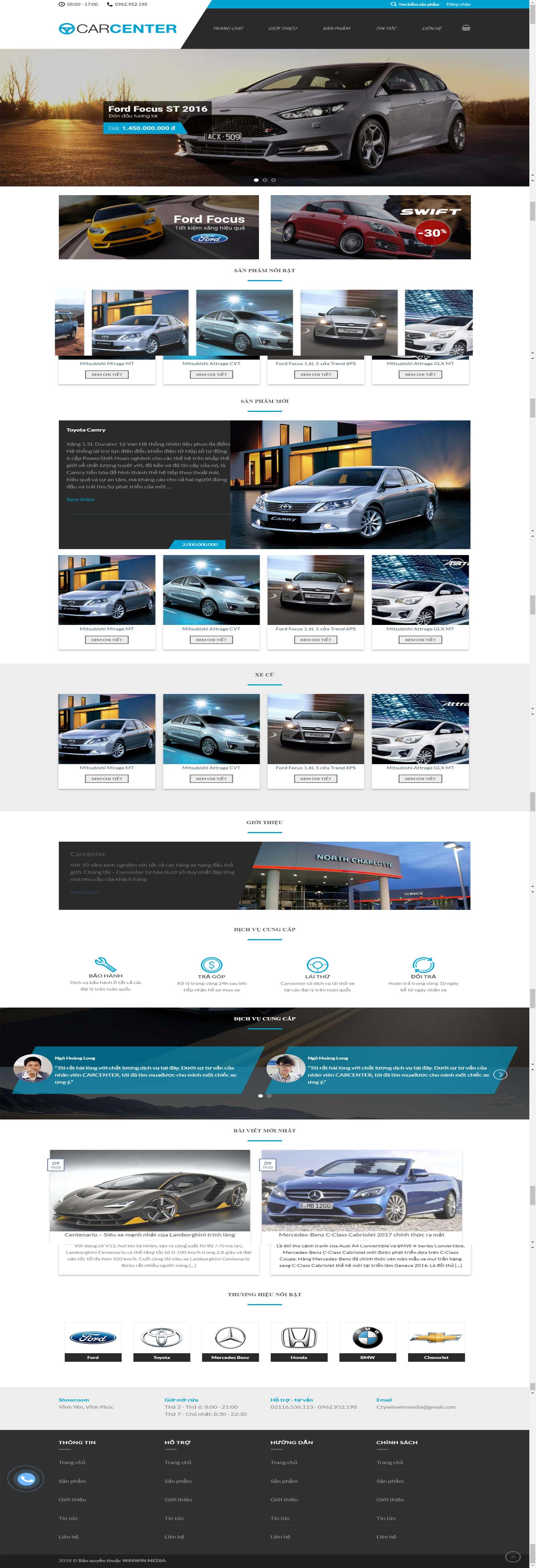 Mẫu website bán ô tô tại Vĩnh Phúc