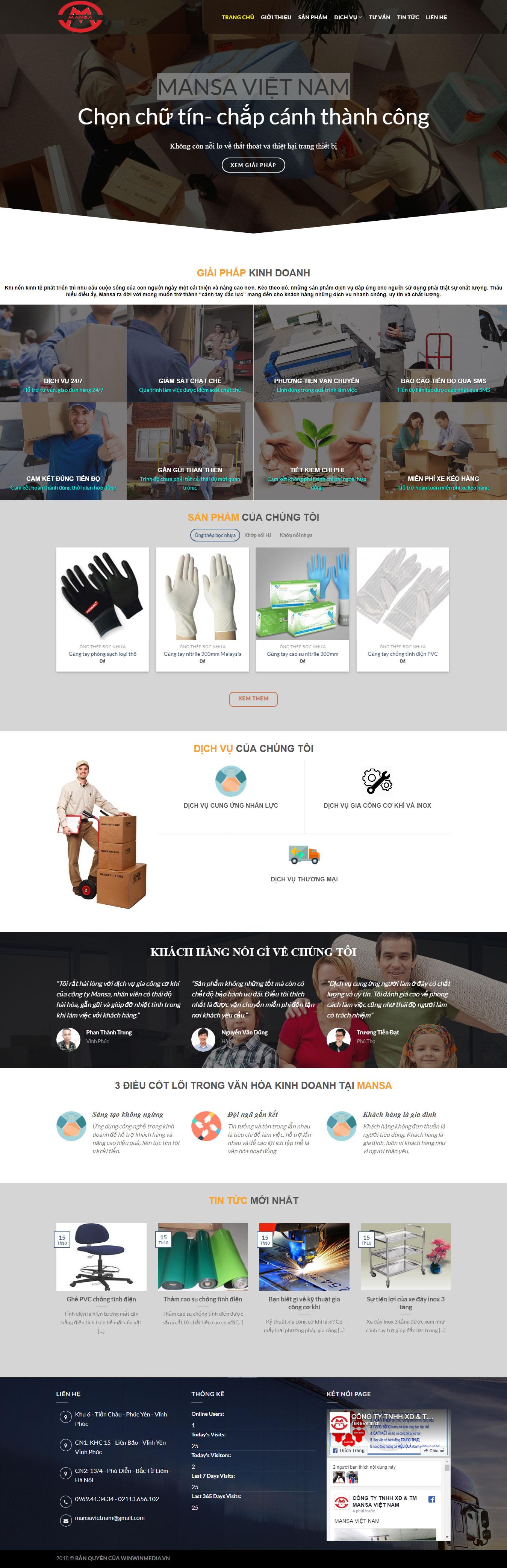Mẫu website thiết bị khu công nghiệp