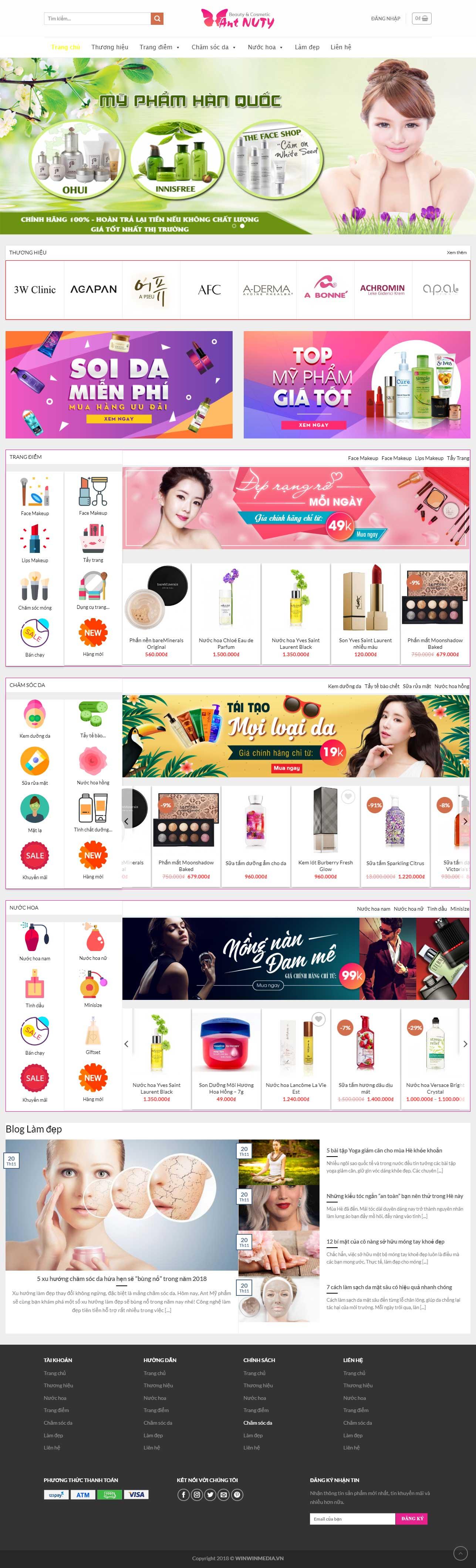 Mẫu website bán mỹ phẩm Hàn Quốc chuẩn SEO