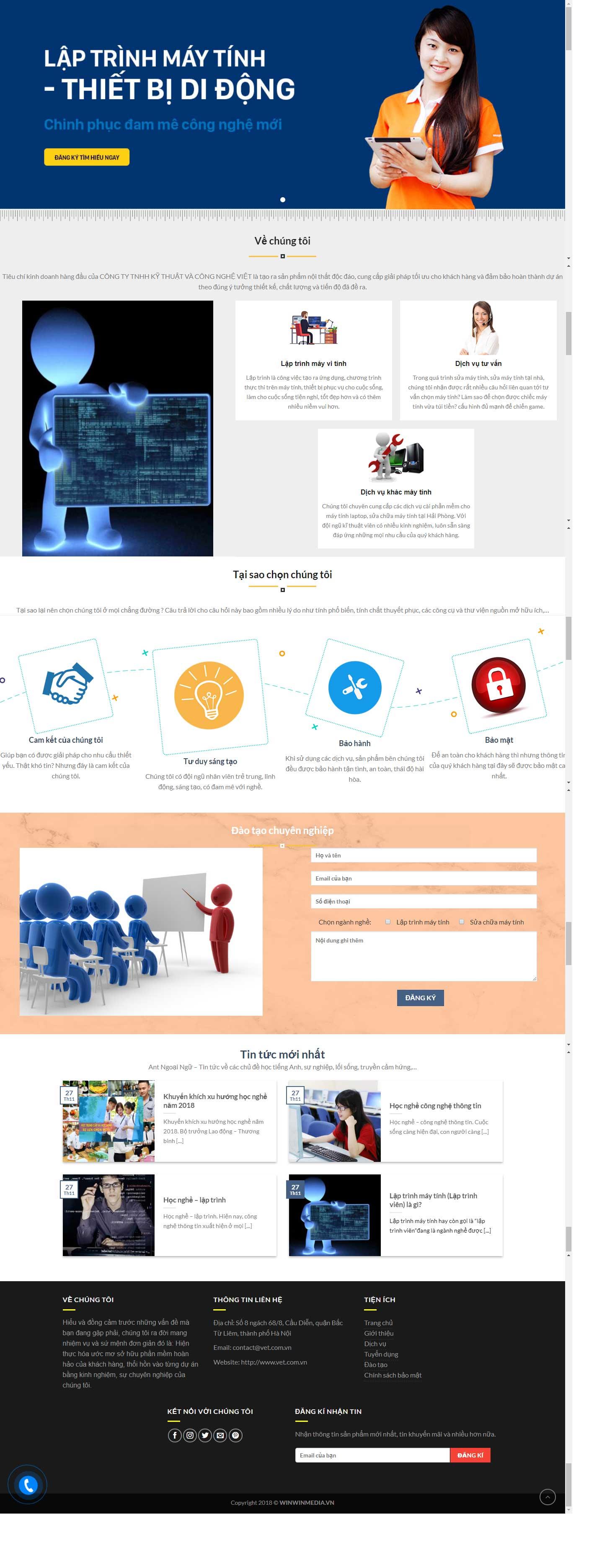 Mẫu website giới thiệu công ty Công Nghệ Việt