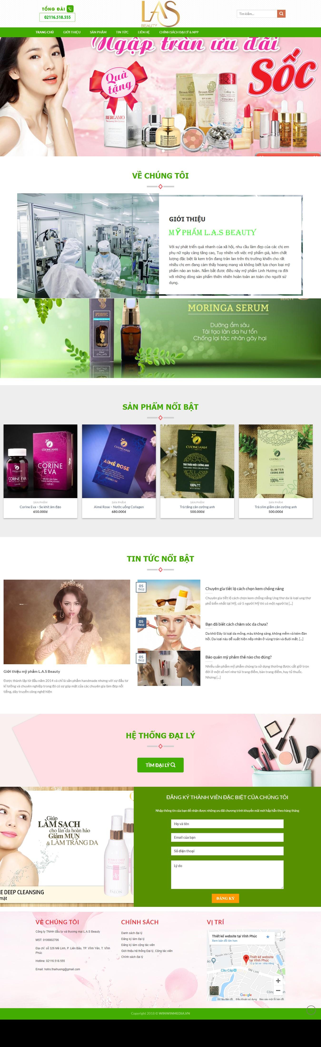 Mẫu website giới thiệu của hàng mỹ phẩm