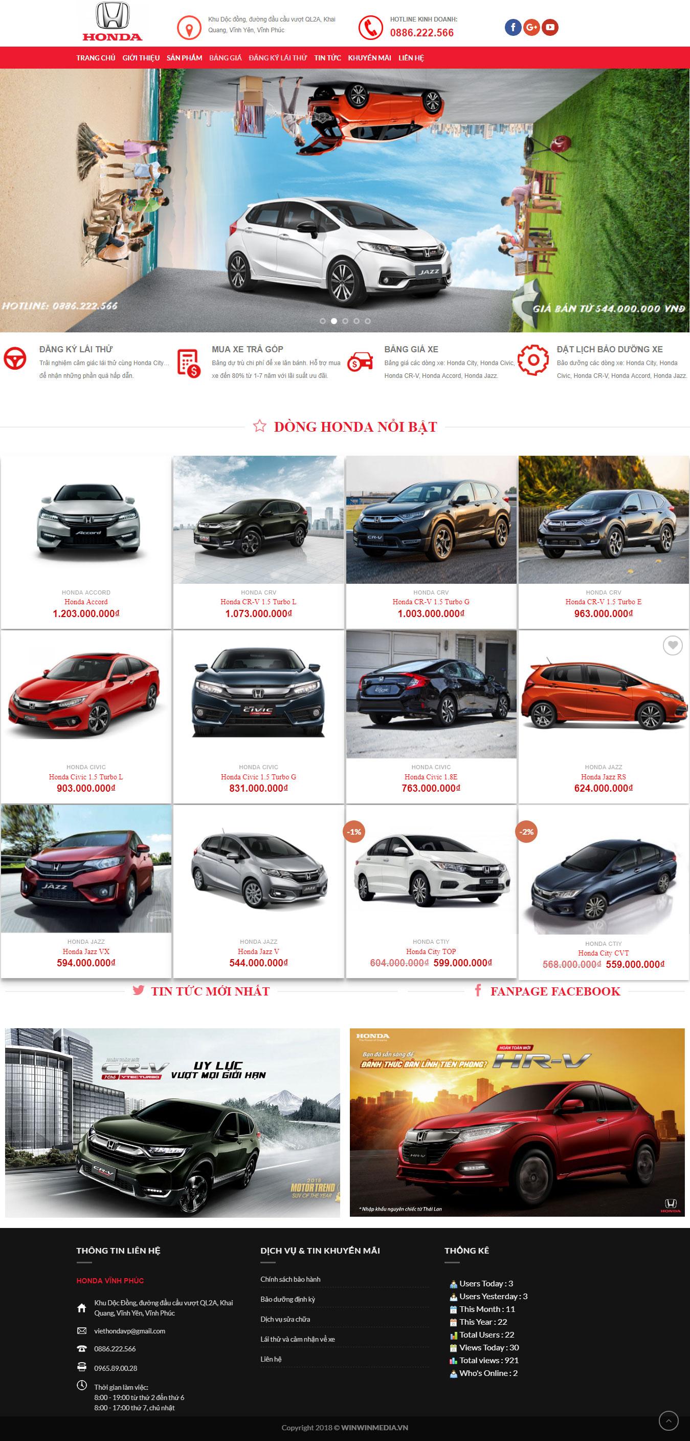 Thiết kế website Ô tô Honda Vĩnh Phúc