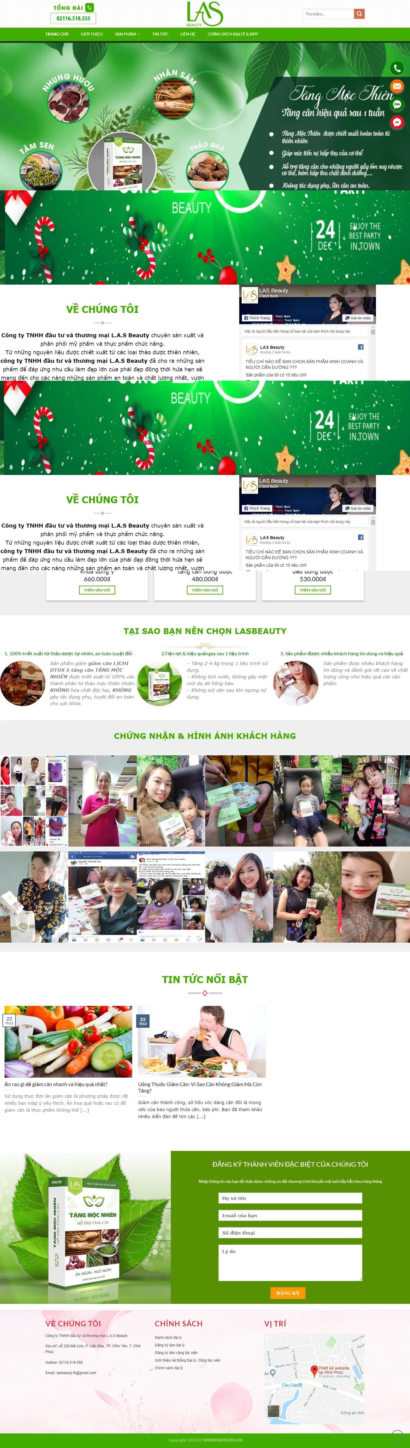 Thiết kế website mỹ phẩm L.A.S Beauty
