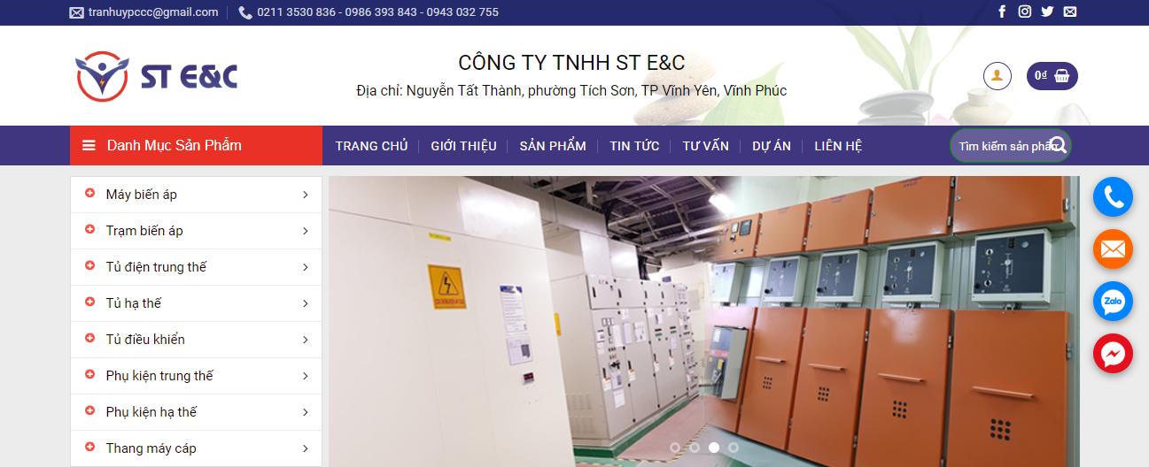Thiết kế website thiết bị điện ST E&C view 1