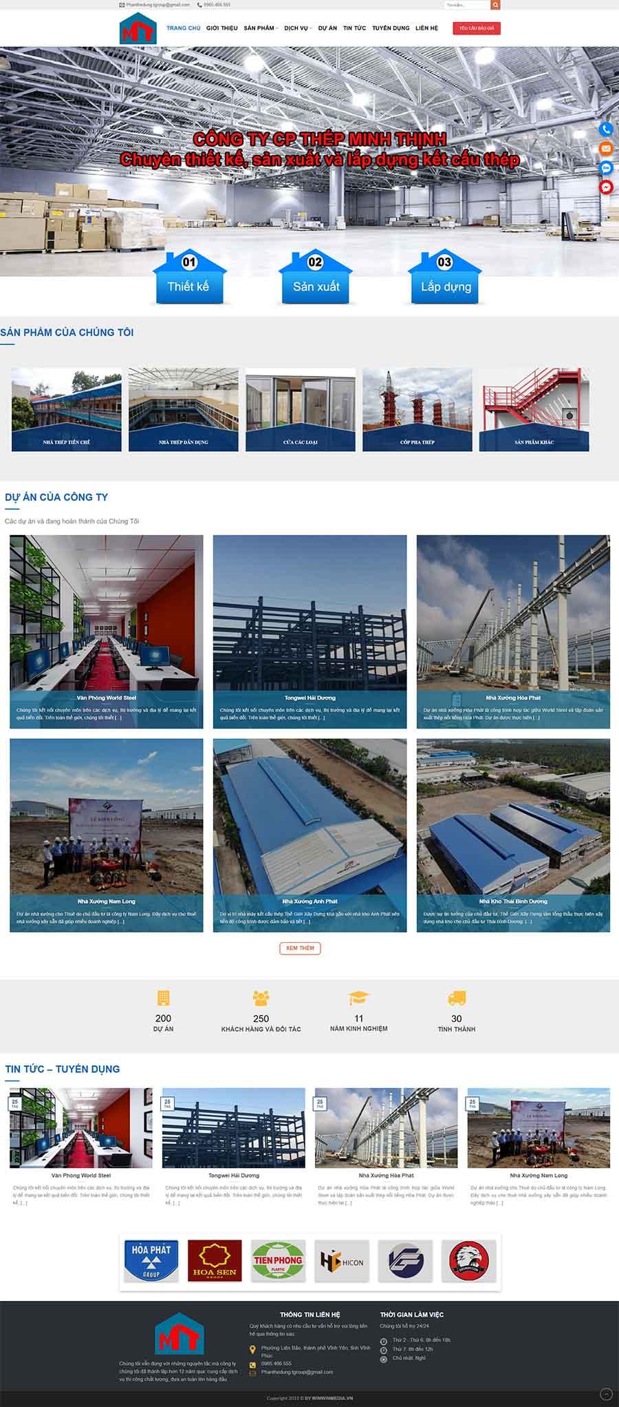 Mẫu website thiết kế thi công nhà xưởng view 1