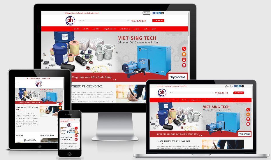 Thiết kế mẫu web bán máy nén khí