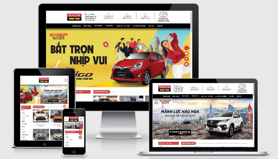 Mẫu thiết kế web bán ô tô Toyota Phú Thọ