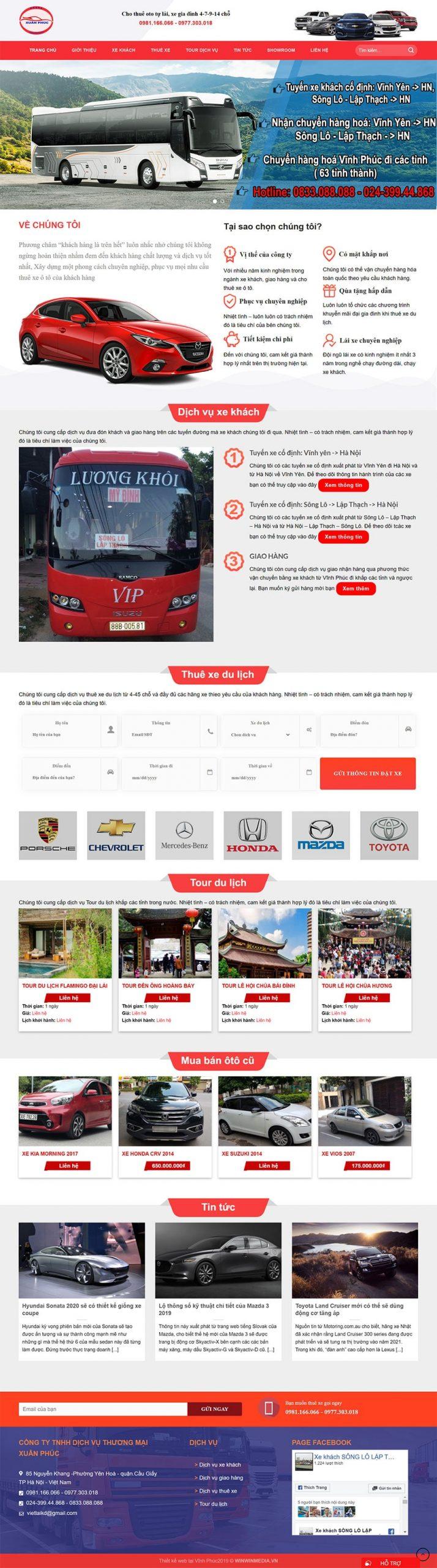 Mẫu website cho thuê xe ô tô tự lái