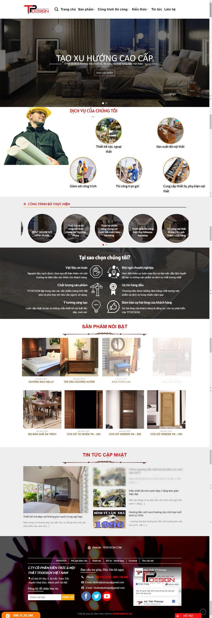 Mẫu web thiết kế kiến trúc TP.DESIGN tại Hà Nội