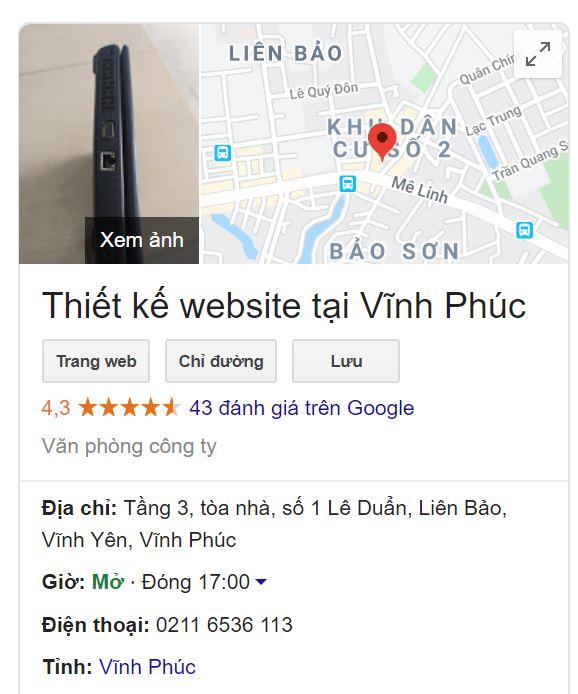 Địa điểm công ty Thiết Kế Web tại Vĩnh Phúc