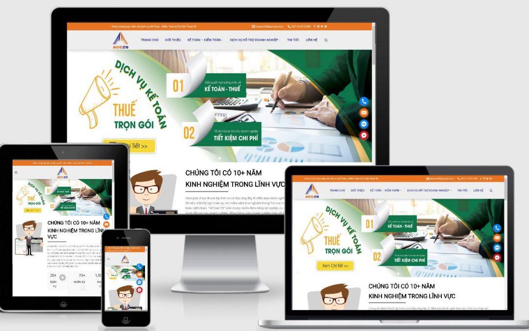 Thiết kế web dịch vụ kế toán – kiểm toán – Đại lý thuế tại Vĩnh Phúc