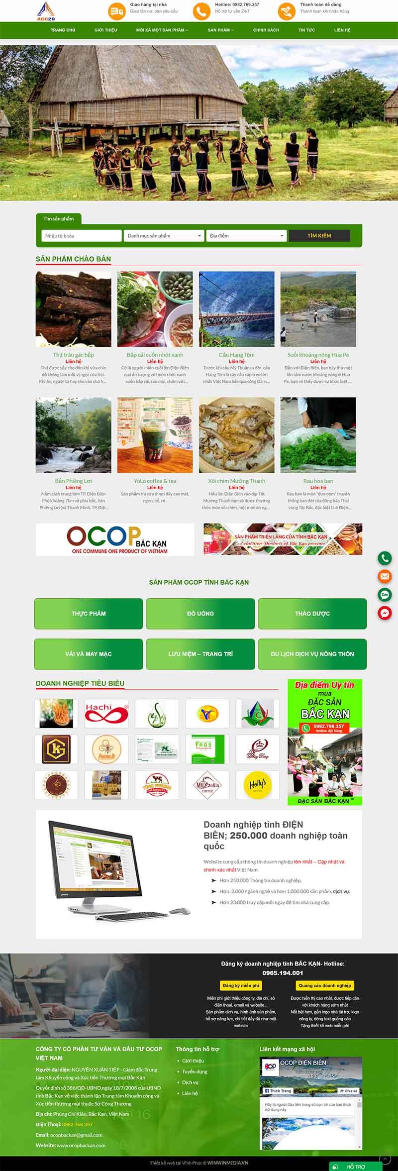 Thiết website Ocop (mỗi xã một sản phẩm) các tỉnh Việt Nam