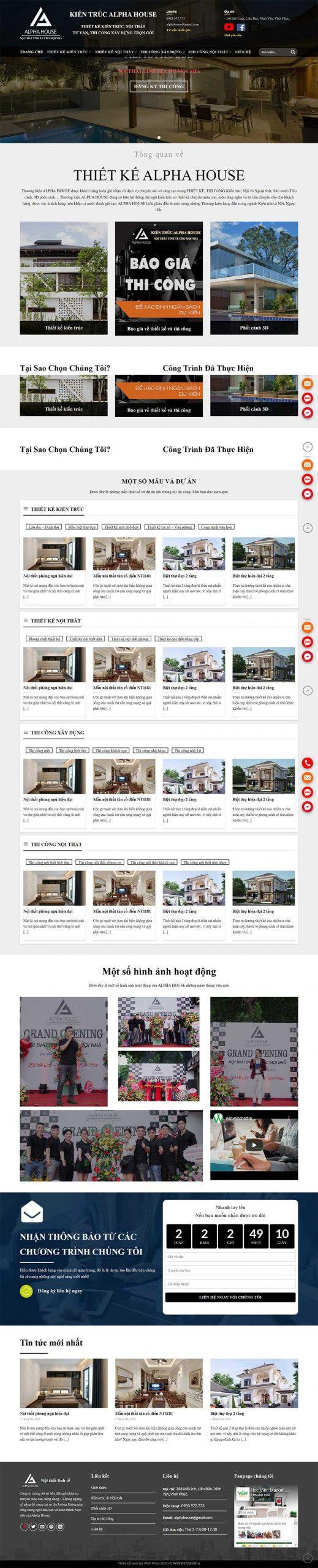 Thiết kế mẫu web kiến trúc  ALPHA HOUSE