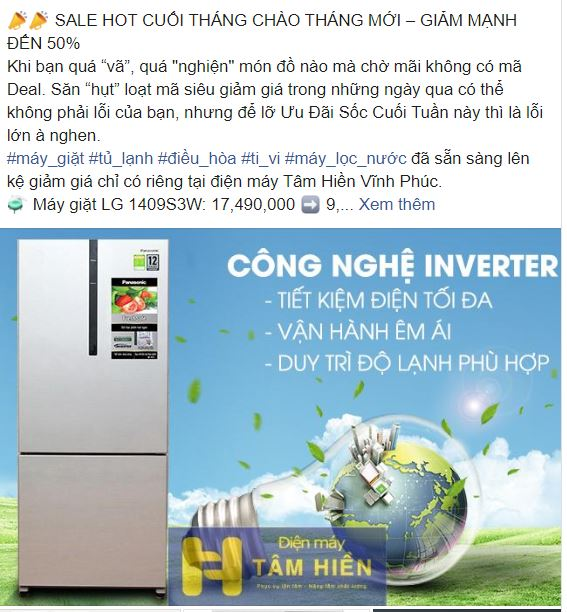 Mẫu quảng cáo facebook Điện Máy Tâm Hiền