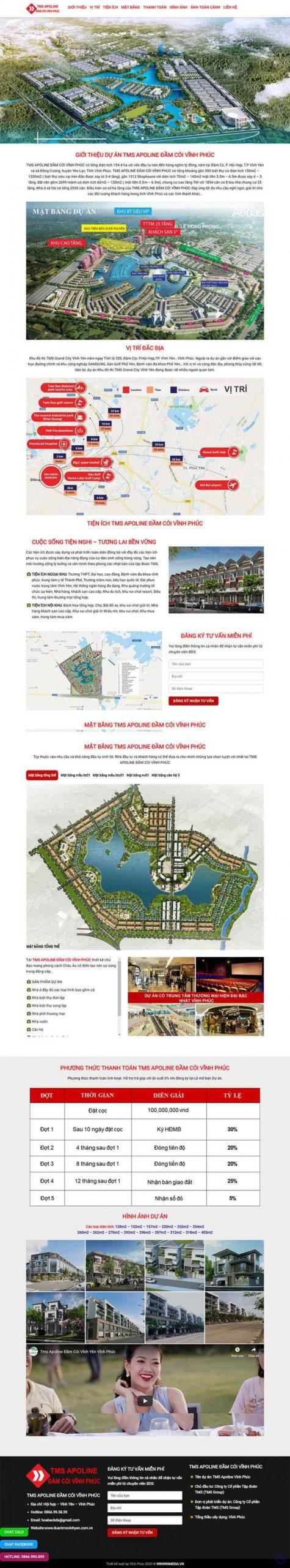 Mẫu Web bất động sản dự án TMS Đầm Cói Vĩnh Phúc