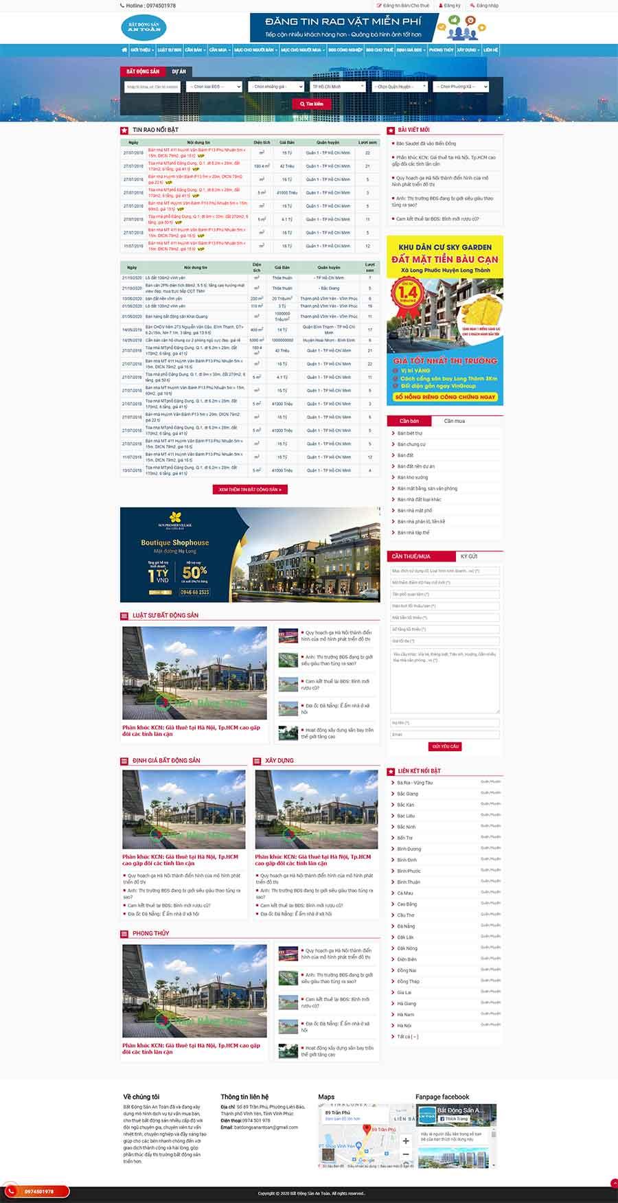 Giao diện web batdongsanantoan.vn