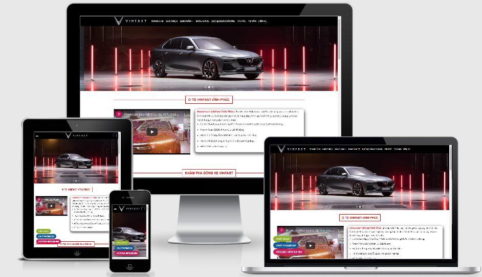 Thiết kế mẫu web ô tô Vinfast Vĩnh Phúc