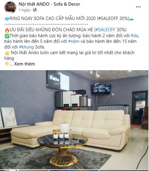 Quảng cáo Facebook Ads Nội thất ANDO – Sofa & Decor tại Vĩnh Yên – Vĩnh Phúc
