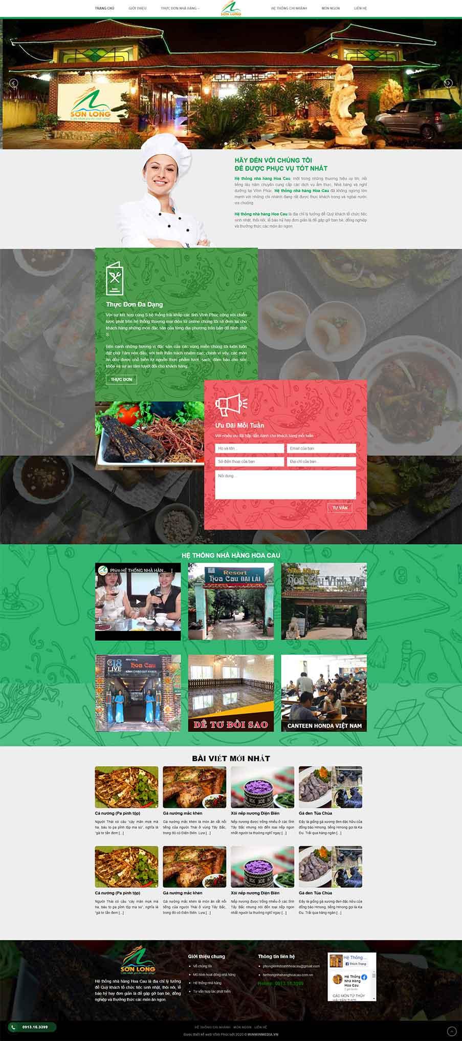 Giao diện web hệ thống nhà hàng Hoa Cau