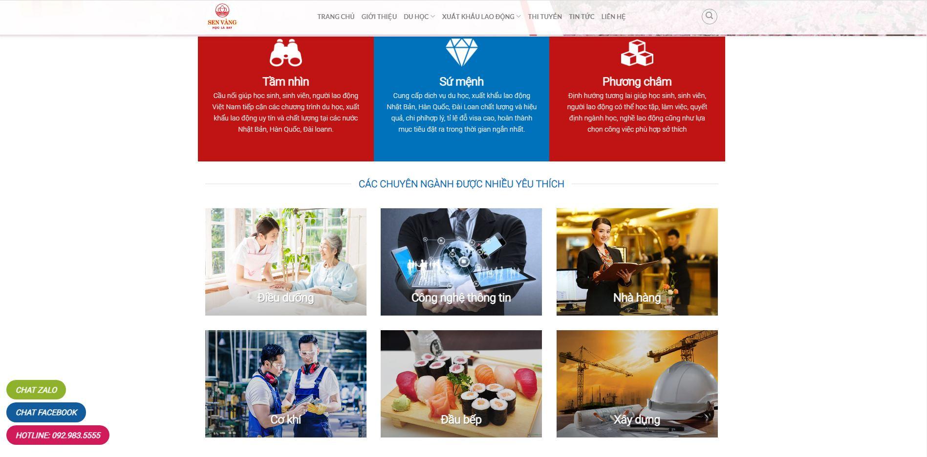 Mẫu web du học và xuất khẩu lao động Sen Vàng