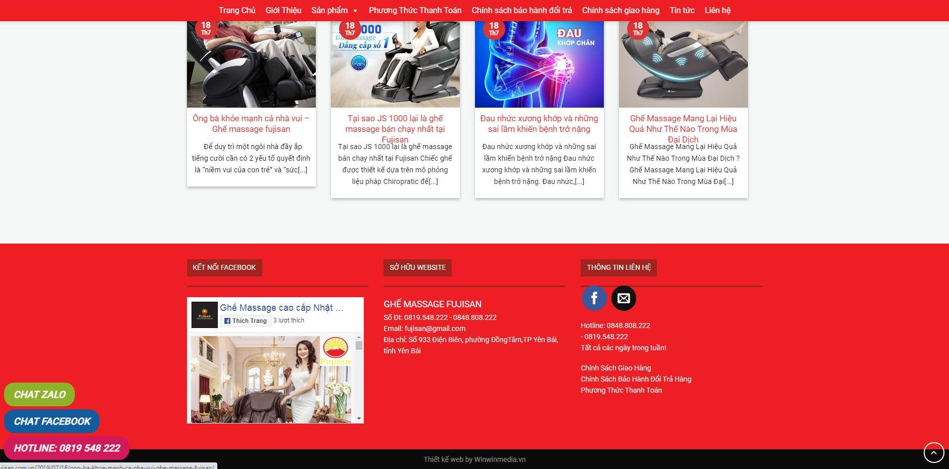 Thiết kế web bán hàng ghế massage tại Vĩnh Phúc
