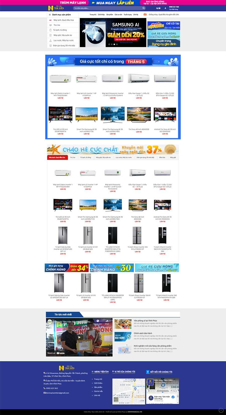 Thiết kế web điện máy Tâm Hiền