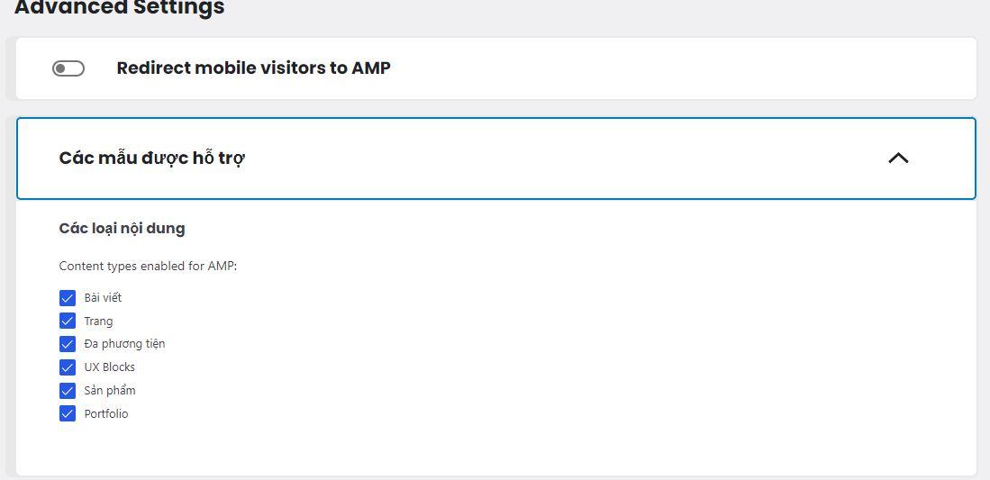 Chọn nội dung hỗ trợ AMP