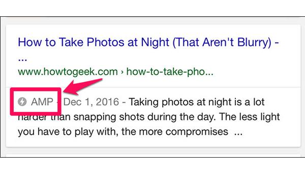 AMP hiển thị trên Google Search