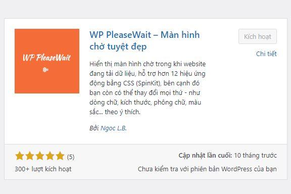WP PleaseWait hiển thị màn hình chờ đẹp mắt trong khi trang web còn đang tải dữ liệu