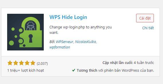 plugin WPS Hide Login thay đổi URL trang Login