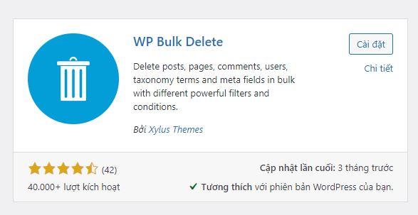 Xóa comment dùng Plugin WP Bulk Delete