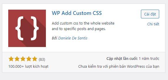 Chèn CSS vào từng trang riêng biệt trong WordPress Plugin WP Add Custom CSS