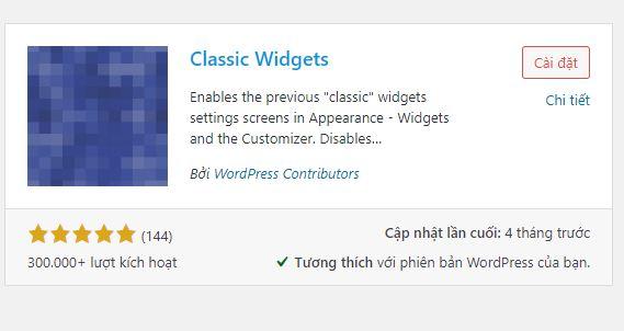 Disable widget block editor bằng Plugin Classic Widgets